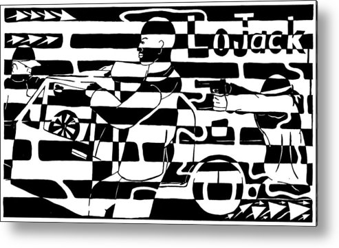Lojack Metal Print featuring the drawing Car-jacking Maze For Lojack Advert by Yonatan Frimer Maze Artist