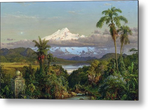 Snow; Mountain; Mountainous; Andes; Valley; Palm Tree; Landscape; Ecuador; Hudson River School; Metal Print featuring the painting Cayambe by Frederic Edwin Church