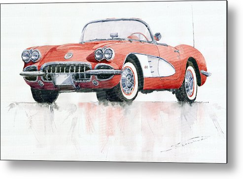 Watercolor Metal Print featuring the painting Chevrolet Corvette C1 1960 by Yuriy Shevchuk