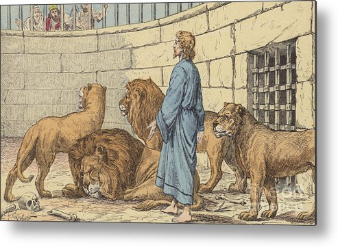 Bible Metal Print featuring the drawing Daniel In The Lions' Den by French School