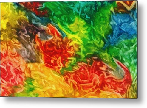 Abstract Metal Print featuring the painting Fire And Ice by Katina Cote