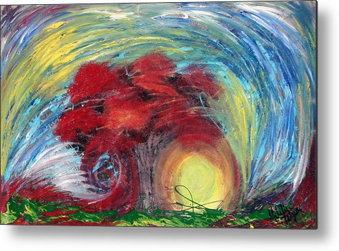 The Tree Metal Print featuring the painting Havoc Winds And Strong Tree by Michelle Teague