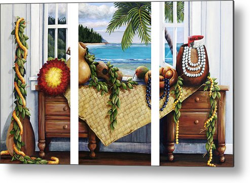 Acrylic Metal Print featuring the painting Hawaiian Still Life With Haleiwa On My Mind by Sandra Blazel - Printscapes
