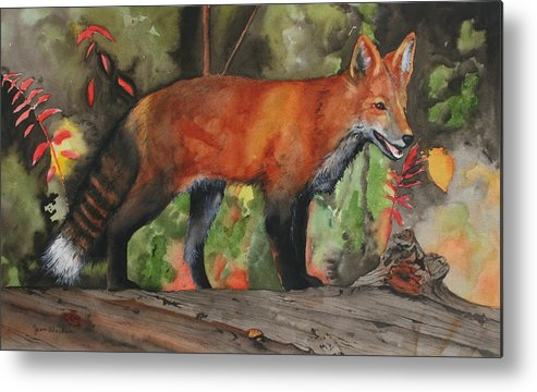 Fox Metal Print featuring the painting Hiding In Plain Sight by Jean Blackmer