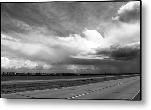 Black And White Metal Print featuring the photograph Highway 5 Clouds by John Norman Stewart