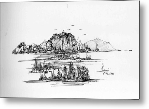 Hills Metal Print featuring the drawing Hills Grass And Some Birds by Padamvir Singh