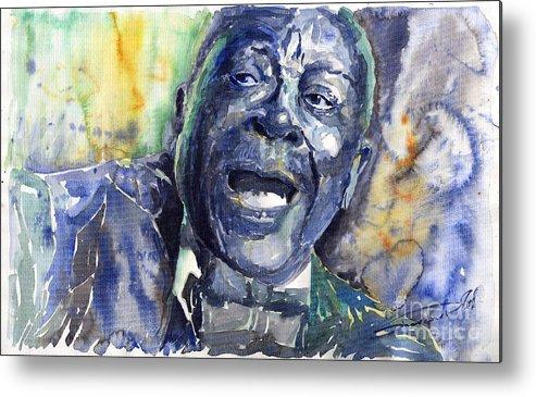 Jazz Metal Print featuring the painting Jazz B.b.king 04 Blue by Yuriy Shevchuk