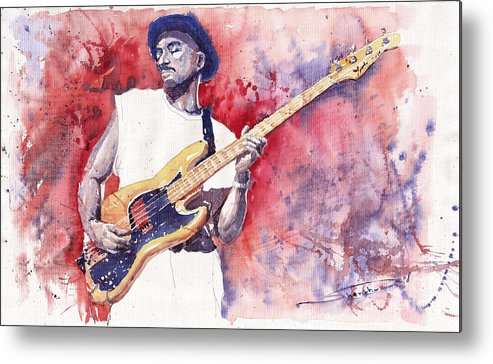 Jazz Metal Print featuring the painting Jazz Guitarist Marcus Miller Red by Yuriy Shevchuk