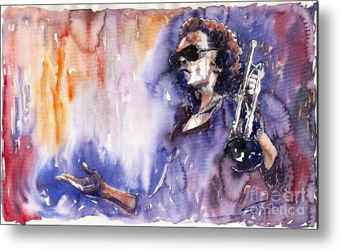 Jazz Metal Print featuring the painting Jazz Miles Davis 14 by Yuriy Shevchuk