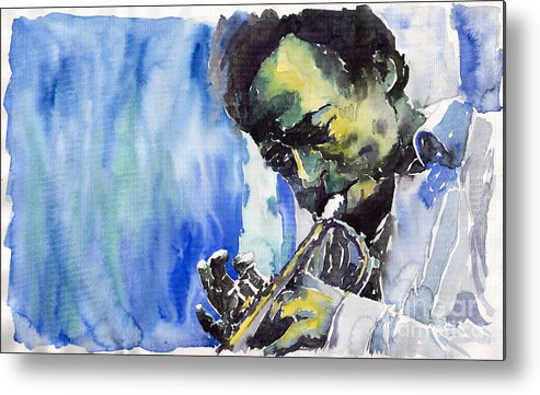 Metal Print featuring the painting Jazz Miles Davis 5 by Yuriy Shevchuk