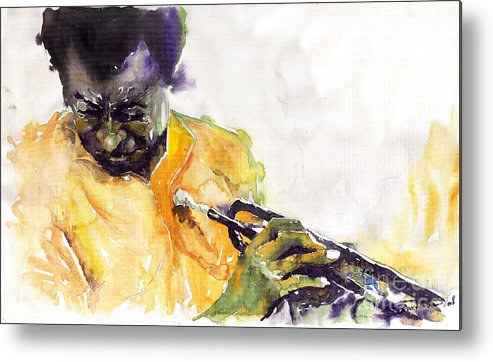 Davis Figurativ Jazz Miles Music Portret Trumpeter Watercolor Watercolour Metal Print featuring the painting Jazz Miles Davis 7 by Yuriy Shevchuk