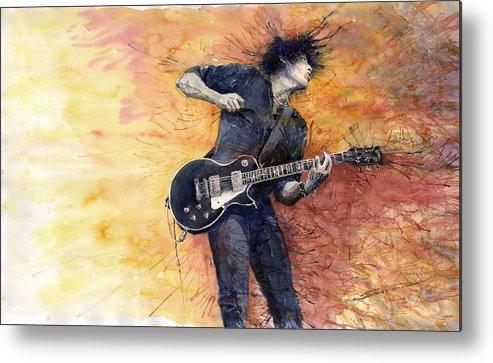Figurativ Metal Print featuring the painting Jazz Rock Guitarist Stone Temple Pilots by Yuriy Shevchuk