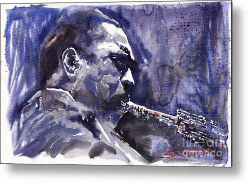 Jazz Metal Print featuring the painting Jazz Saxophonist John Coltrane 01 by Yuriy Shevchuk