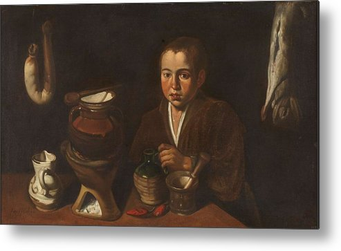 Girl Metal Print featuring the painting Lopez Caro, Francisco 1598, 1661 Kitchen Boy Ca. 1620 by Lopez Caro Francisco
