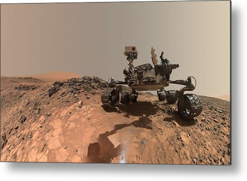 Nature Metal Print featuring the painting Low-angle Self-portrait Of Nasa's Curiosity Mars Rover by Artistic Rifki