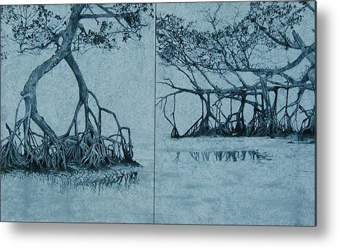 Blue Metal Print featuring the painting Mangroves by Leah Tomaino