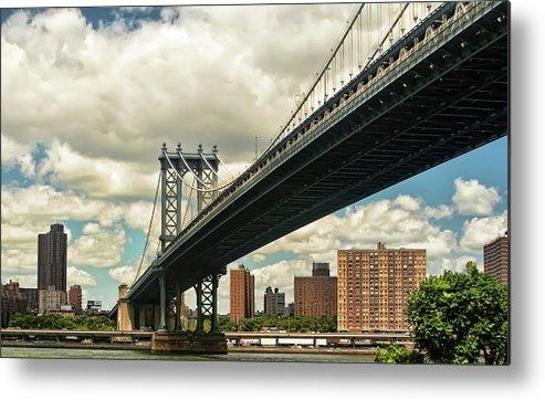 Manhattan Metal Print featuring the photograph Manhattan Bridge by Alexander Mendoza