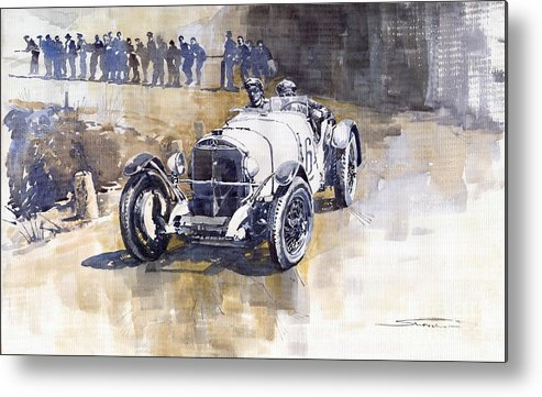 Watercolour Metal Print featuring the painting Mercedes Benz Ssk 1930 Rudolf Caracciola by Yuriy Shevchuk