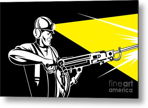 Illustration Metal Print featuring the digital art Miner With Jack Leg Drill by Aloysius Patrimonio