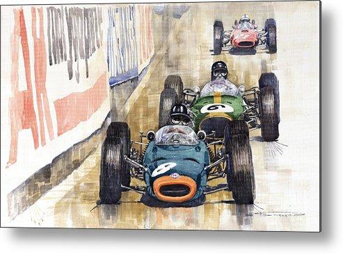 Watercolour Metal Print featuring the painting Monaco Gp 1964 Brm Brabham Ferrari by Yuriy Shevchuk