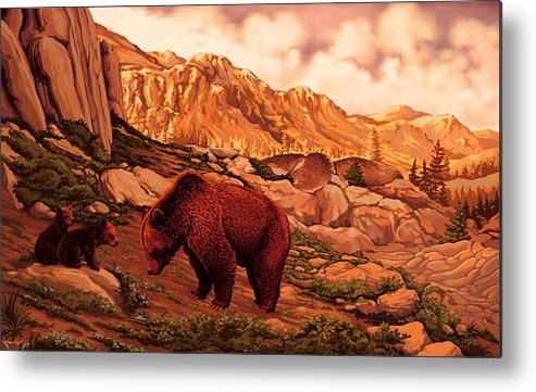 Nature Metal Print featuring the painting Morning Breakfast by Hans Neuhart
