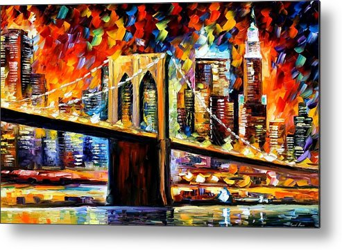Afremov Metal Print featuring the painting New York Brookyln Bridge by Leonid Afremov