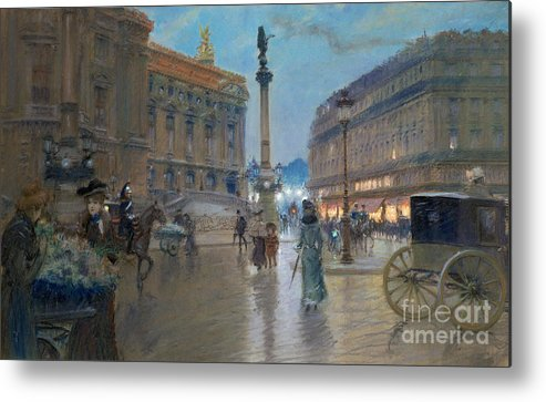 Place De L'opera Metal Print featuring the painting Place De L Opera In Paris by Georges Stein