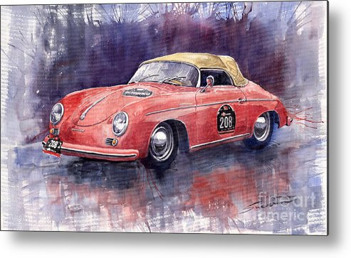 Watercolour Metal Print featuring the painting Porsche 356 Speedster Mille Miglia by Yuriy Shevchuk