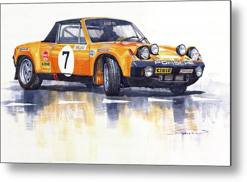 Watercolour Metal Print featuring the painting Porsche 914-6 Gt Rally by Yuriy Shevchuk