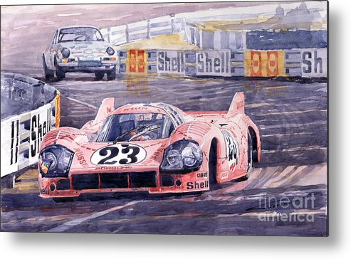 Watercolor Metal Print featuring the painting Porsche 917-20 Pink Pig Le Mans 1971 Joest Reinhold by Yuriy Shevchuk