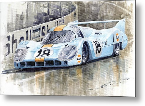 Watercolor Metal Print featuring the painting Porsche 917 Lh 24 Le Mans 1971 Rodriguez Oliver by Yuriy Shevchuk