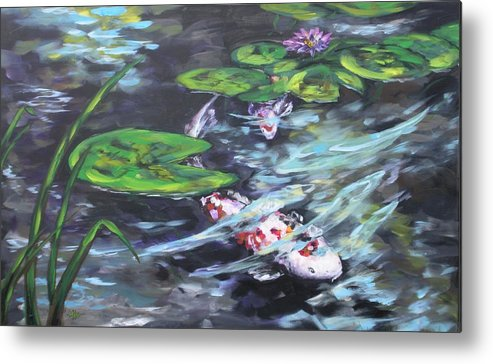 Koi Fish Water Waterscape Lily Pad Pond Reeds Nature Metal Print featuring the painting Ripple Rouser by Alan Scott Craig