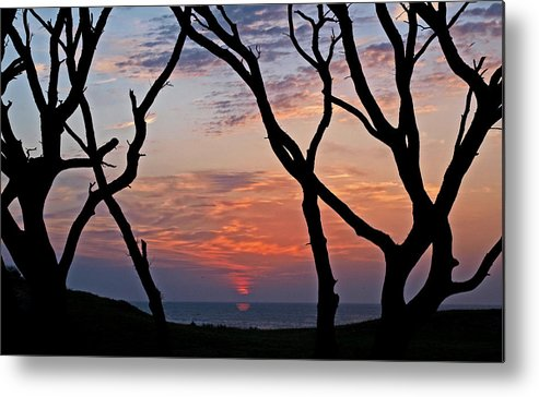 Sunrise Reflection Metal Print featuring the photograph Sunrise At Fort Fisher by Paul Boroznoff