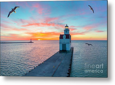 Above Metal Print featuring the photograph Sunrise Over Lake Michigan Scenic Harbor, Lighthouse With Seagulls. by James Brey