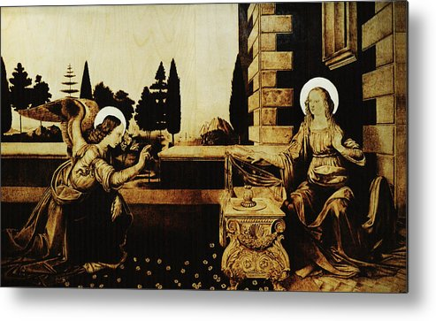 Dino Muradian Metal Print featuring the pyrography The Annunciation by Dino Muradian
