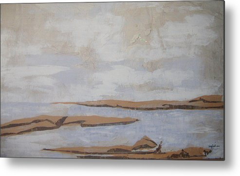 Water Metal Print featuring the mixed media The Beach by Helene Champaloux-Saraswati