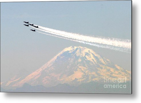 Blue Angels Metal Print featuring the painting The Blue Angels Over Mount Rainier Seattle by Celestial Images