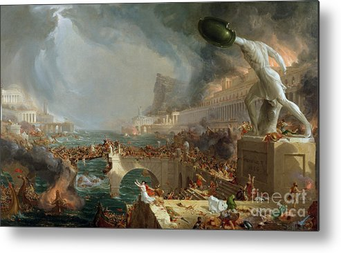 Destroy; Attack; Bloodshed; Soldier; Ruin; Ruins; Shield; Monument; Bridge; Classical Architecture; Galleon; Barbarian; Barbarians; Possibly Fall Of Rome; Hudson River School; Statue Metal Print featuring the painting The Course Of Empire - Destruction by Thomas Cole