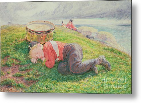 The Metal Print featuring the painting The Drummer Boy's Dream by Frederic James Shields