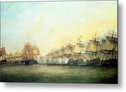 The Metal Print featuring the painting The Fourth Action Off Trincomalee Between The English And The French by Dominic Serres