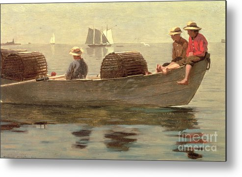 Boat Metal Print featuring the painting Three Boys In A Dory by Winslow Homer