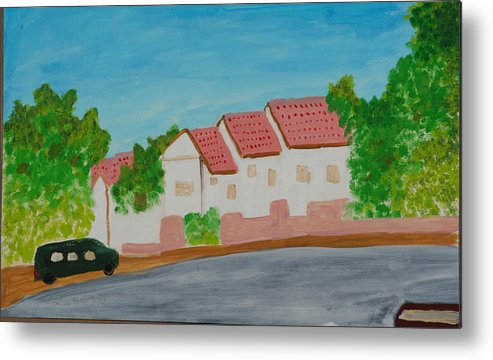 Tile-roof Metal Print featuring the painting Three Houses by Harris Gulko