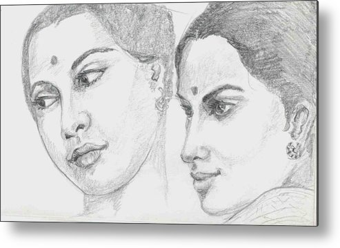 Sketch Of Indian Women Metal Print featuring the drawing Two Indian Women by Asha Sudhaker Shenoy