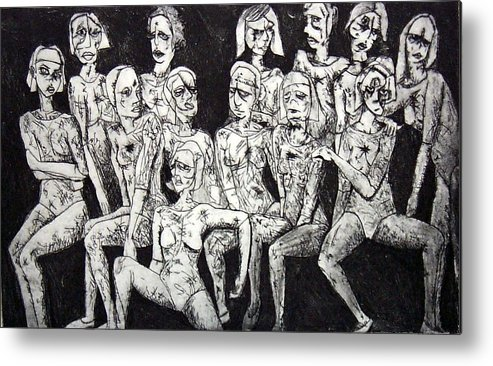 Etching Metal Print featuring the print Ugly Girls by Thomas Valentine