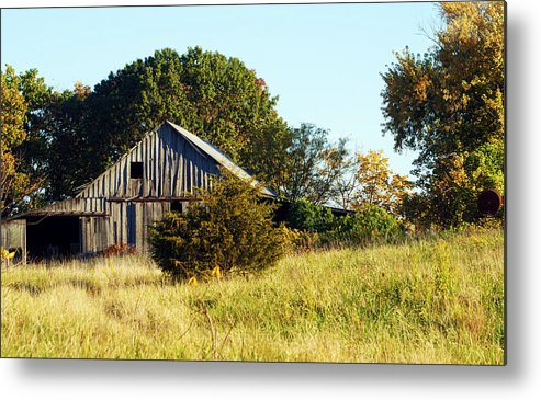 Barn Metal Print featuring the photograph Weathered Barn In Fall by Cricket Hackmann
