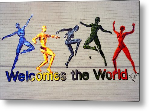 Art Metal Print featuring the photograph Welcomes The World Mural by Steve Ohlsen