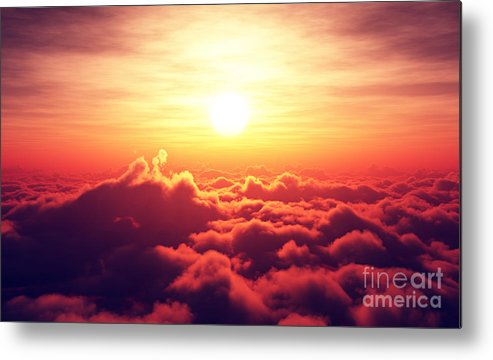 Sunrise Metal Print featuring the digital art Golden Sunrise Above Puffy Clouds by Johan Swanepoel