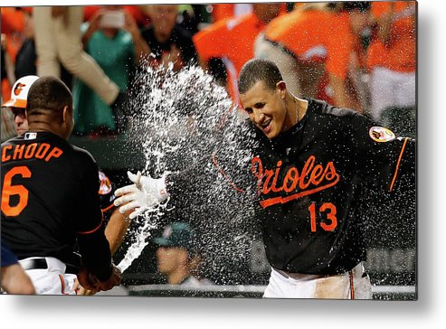 People Metal Print featuring the photograph Manny Machado And Jonathan Schoop by Rob Carr