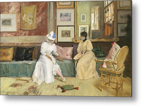 Sitting; Room; Parasol; Conversation; Interior; Society; American; Impressionist; Impressionism; Visit; Ten; Group; Friends; Conversing Metal Print featuring the painting A Friendly Call by William Merritt Chase