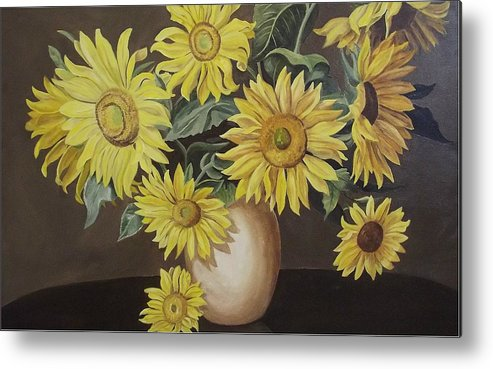 Flowers Metal Print featuring the painting Sunshine And Sunflowers by Wanda Dansereau